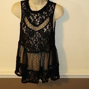 Black lace polkadot sleeveless blouse peplum loose